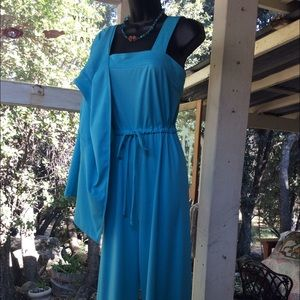Vintage 1970 Poly Jump Suit with Jacket Turquoise